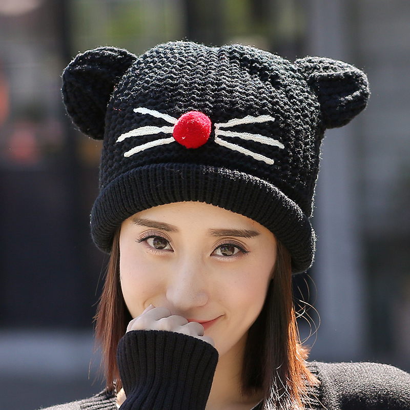 Winter hat female korean cute cartoon student ms. autumn and winter outdoor warm wool hat knitted hat