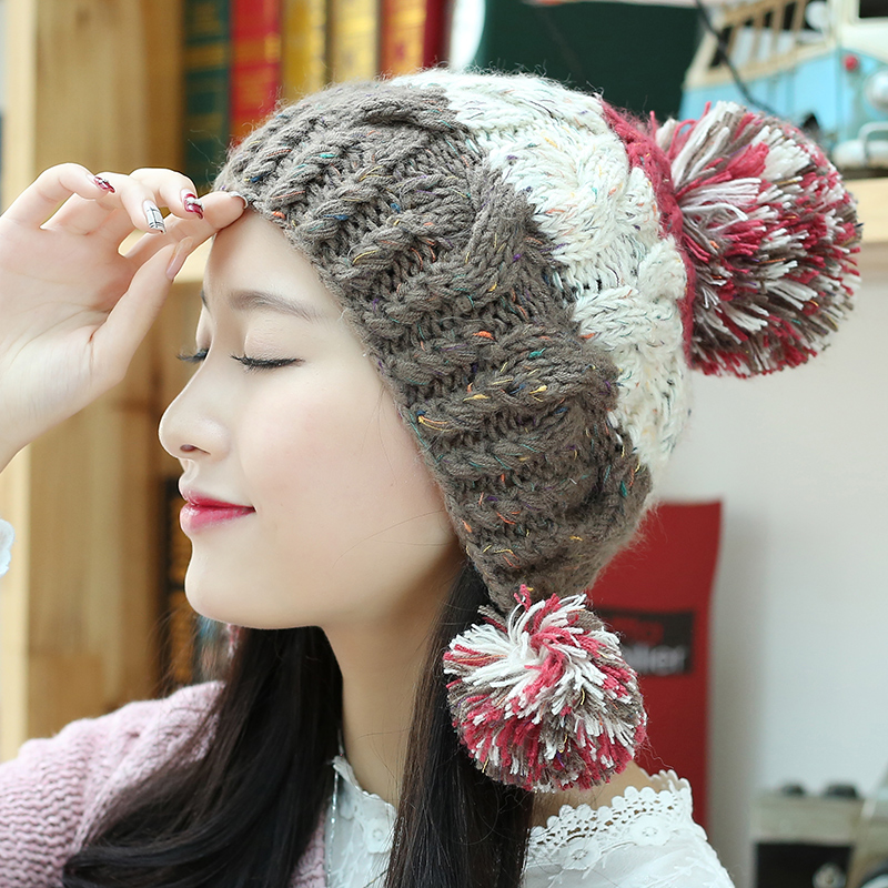 Winter hat female korean cute winter wool cap influx of female ear warm autumn and winter handmade knitted hat female winter hat