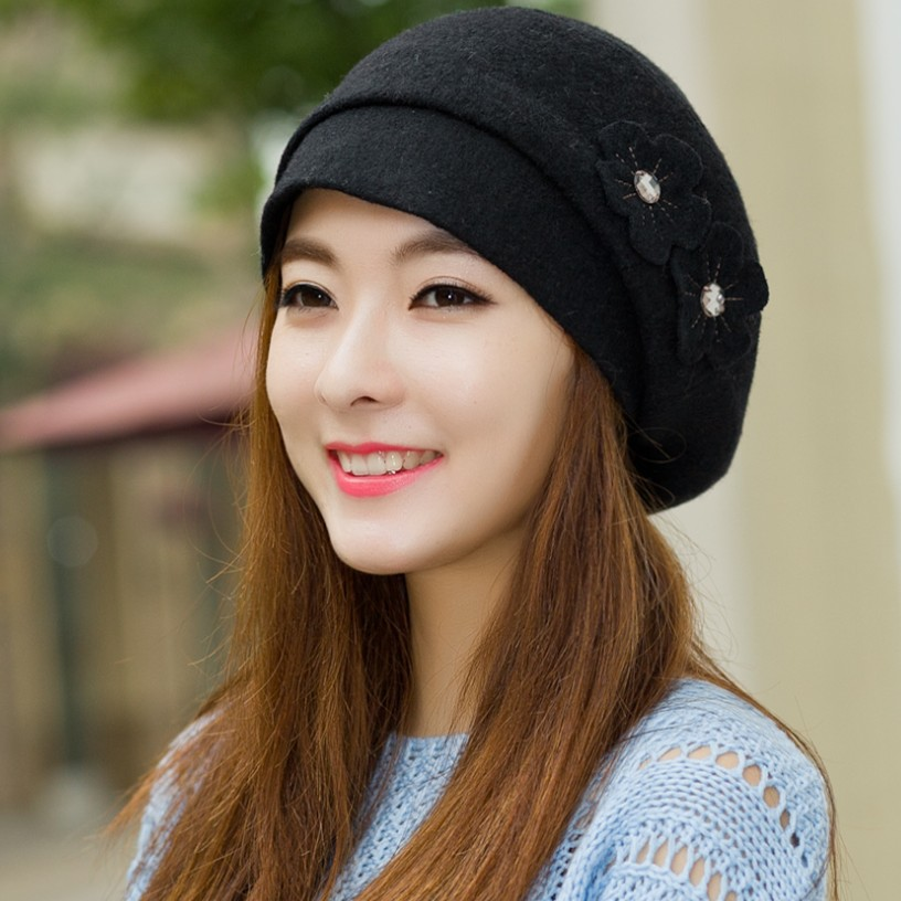 Winter hat female korean tidal autumn and winter repair face warm winter hat wool beret hat female cap maung Fall in love with