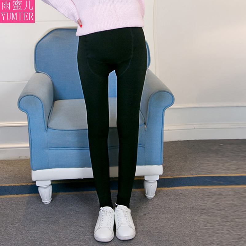 Winter maternity pants fall and winter black autumn autumn outer wear trousers plus velvet trousers feet care belly thick leggings tide