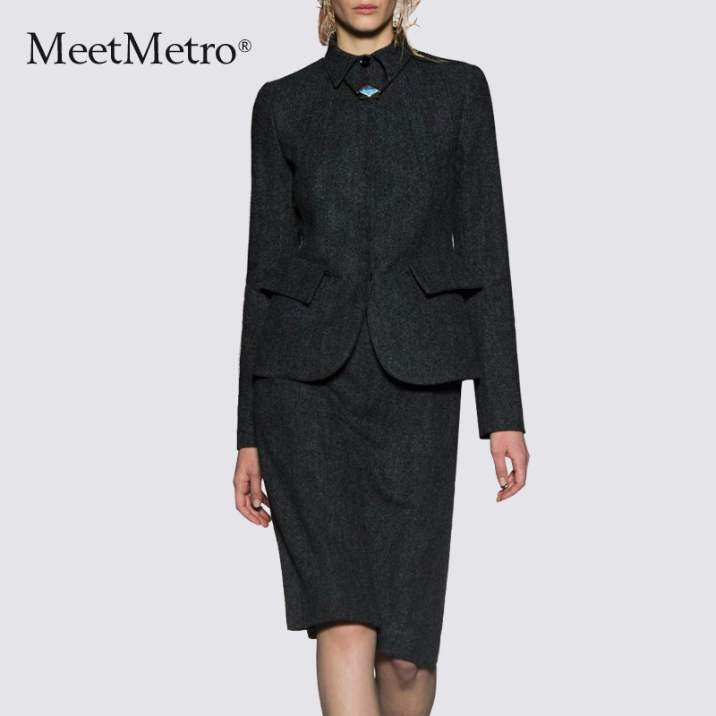 Winter new european and american fashion MeetMetro2015 woolen sleeve dress temperament ol career suits piece