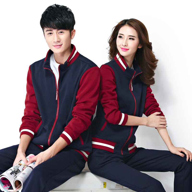 Winter plus thick velvet leisure suit sportswear suit men and women spell color collar cotton sweater sports suit lovers