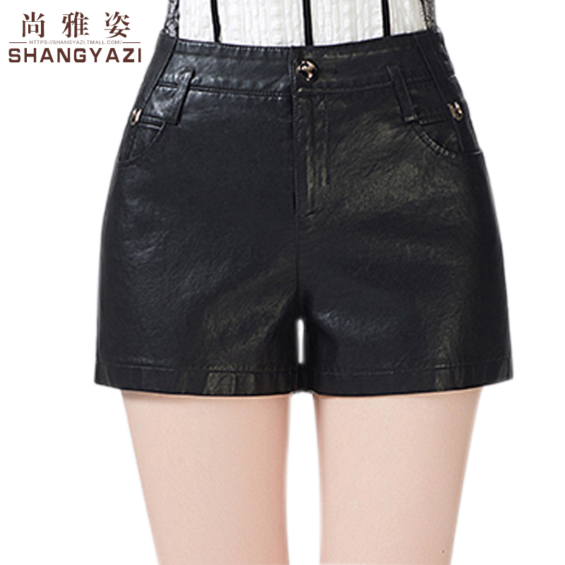 Winter pu leather shorts female 2016 winter high waist leather shorts leather pants black leather pants big yards boots pants female casual pants leggings