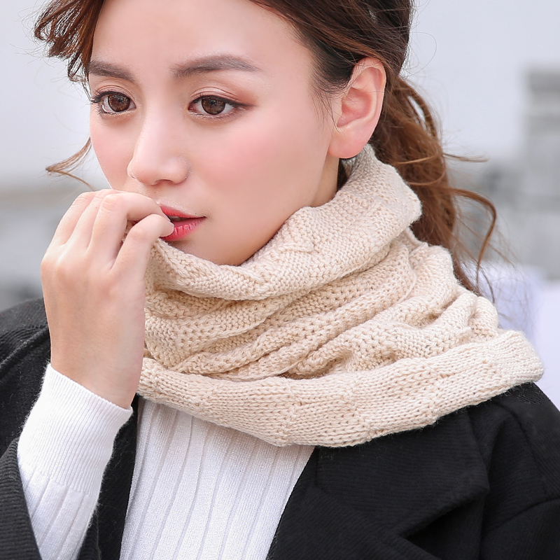Winter scarf female korean solid color knit scarf female hedging autumn and winter thick wool scarf collars male female