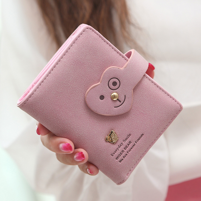 Wiser bear ms. wallet female short paragraph 2016 korean version of the cartoon smiley student small purse wallet