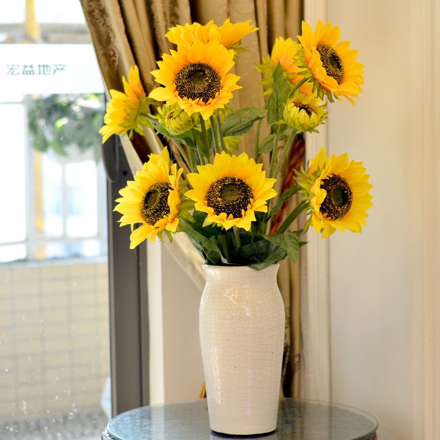 Wisteria century single sunflower artificial flowers silk sunflowers simulation silk flower bouquet of plastic flowers placed in the living room floor