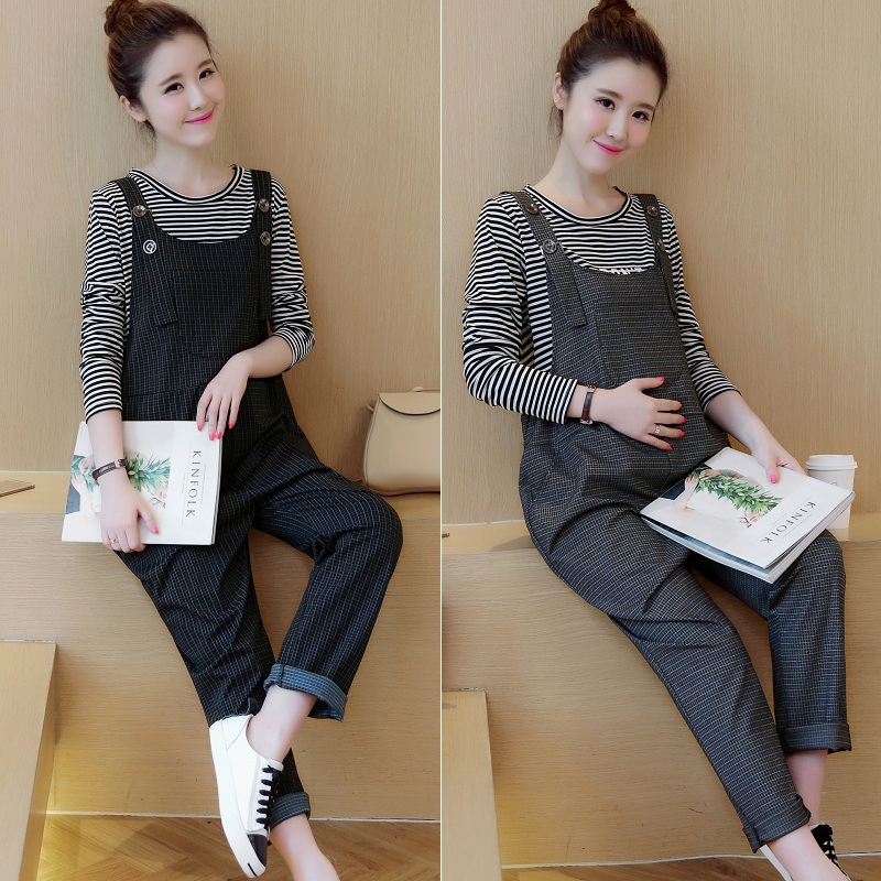 With the nature of the literary plaid overalls suit spring and fall and winter maternity pregnant women pregnant women long pants korean fashion piece pants