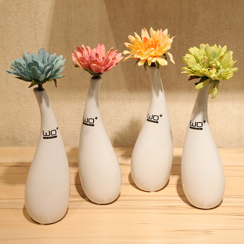 Wo + artificial flowers artificial flowers gerbera suit home decoration ceramic vase ornaments simple and stylish with water droplets