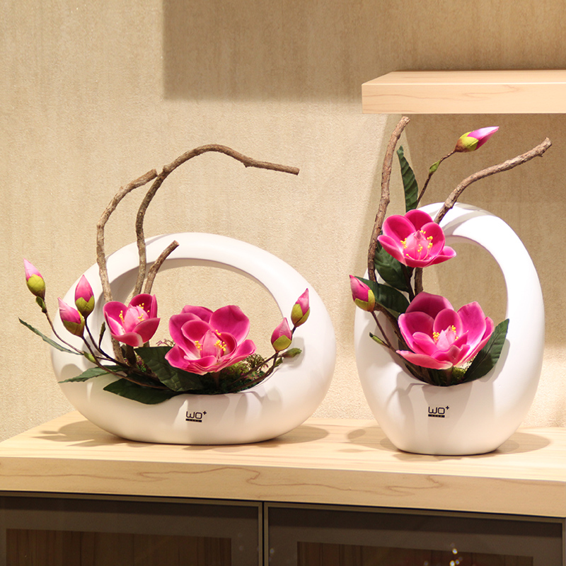 Wo + artificial flowers artificial flowers magnolia suite for home decoration ceramic vase ornaments living room table floral showcase