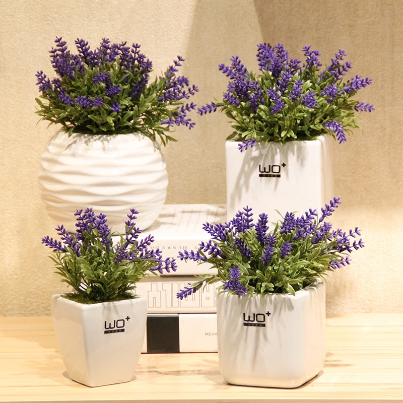 Wo + artificial flowers ceramic vase with artificial flowers artificial flowers lavender floral suit home decoration decorative potted