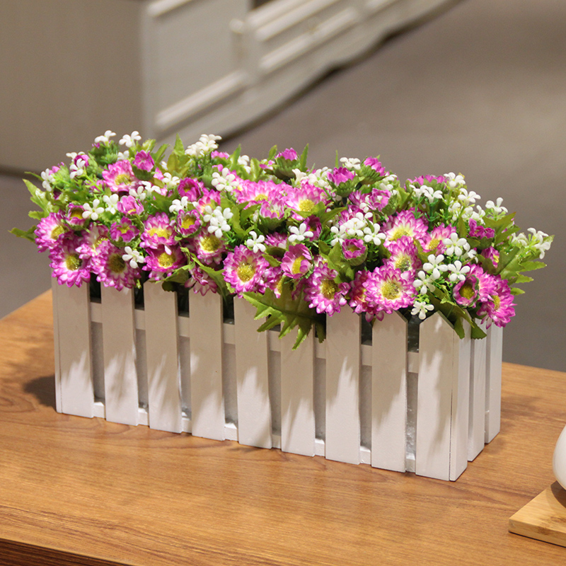 Wo + artificial flowers small chrysanthemum daisies fence floral suit artificial flowers artificial flowers decorate the living room tv cabinet pastoral simplicity