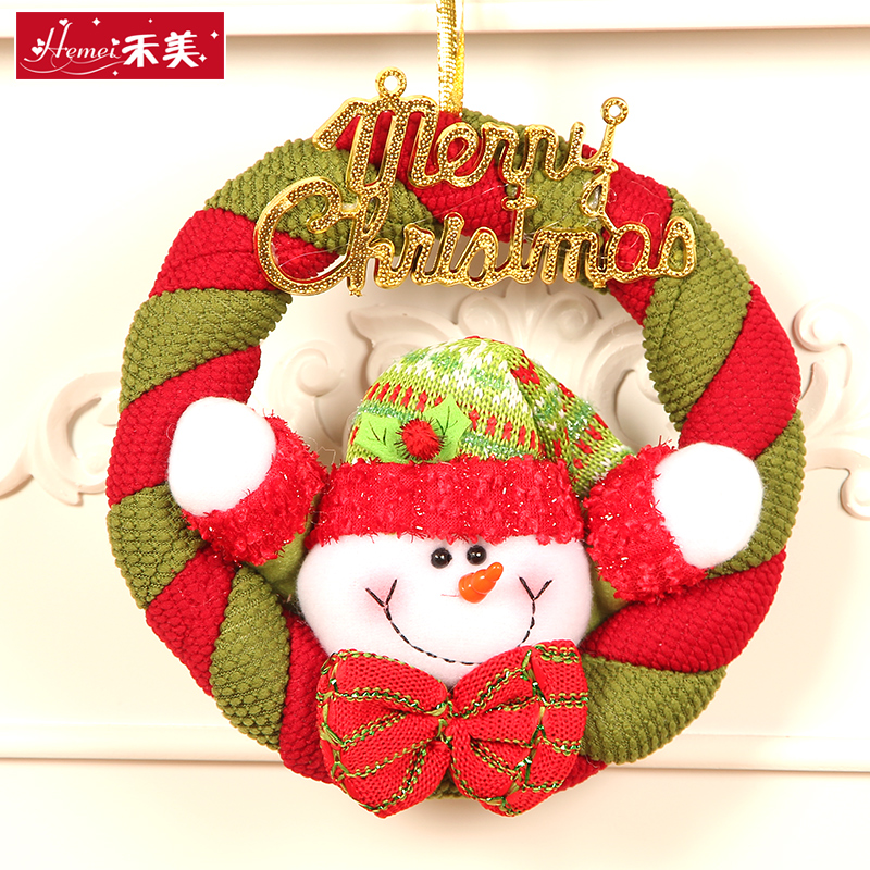 Wo us fabric fabric snowman santa claus christmas decorations christmas wreath decorated christmas wreath hanging
