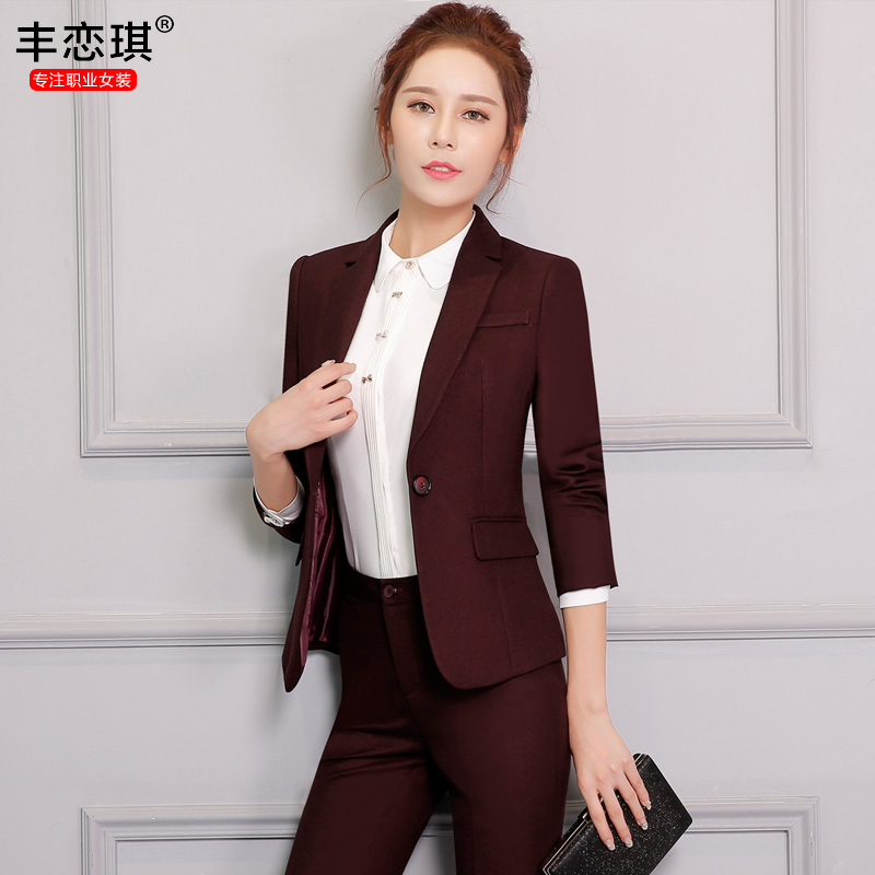 d4b36a535e Get Quotations · Women wear suit pants suit chaps ms. career suits women long  sleeve dress three sets
