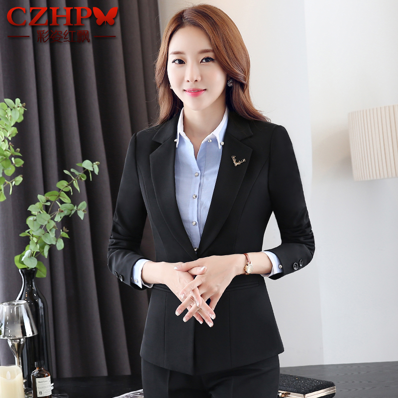 Women's autumn and winter wear suits hotel reception sleeved suit chaps ms. face test manager overalls