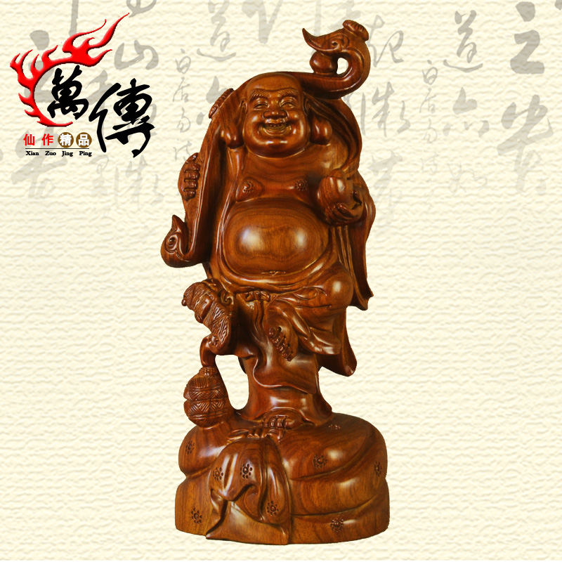 Wood carvings rosewood large laughing buddha maitreya buddha ornaments wishful buddha mahogany wood crafts home accessories
