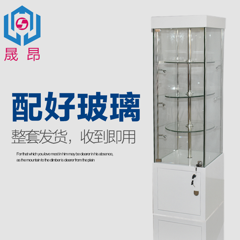 Wooden cabinet paint rotating electric boutique showcase jewelry display cabinet with glass cabinet cosmetic display