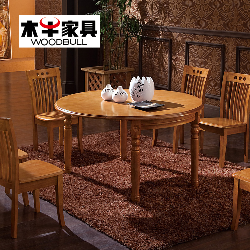 Wooden cow dining table small apartment telescopic folding dinette table combination roundtable table oak wood dining table dining table chairs free shipping