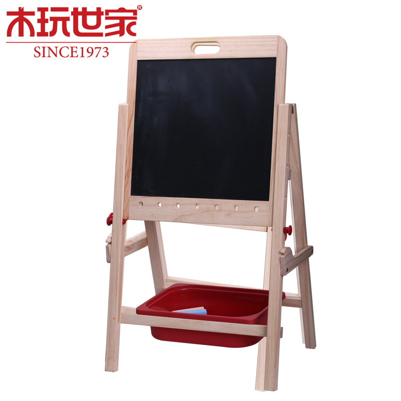 Wooden play family happy family ligneous sided large sketchpad can lift scaffolding baby wordpad small blackboard