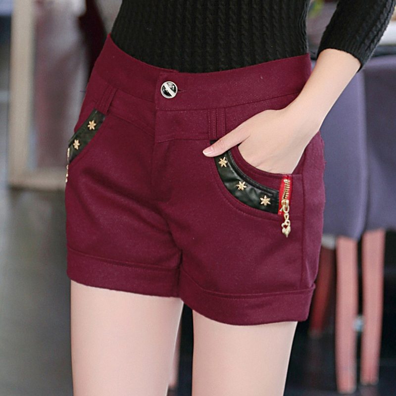 Woolen shorts female 2016 autumn and winter bottoming casual pants slim was thin woolen winter boots pants waist big yards plus thick
