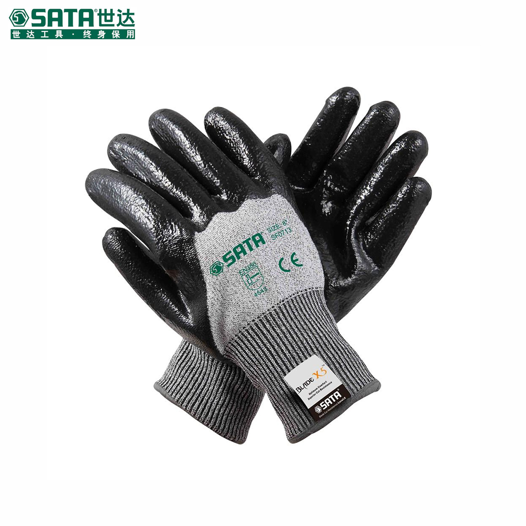 "World of labor protective gloves labor gloves safety gloves 8 ""nitrile palm coated gloves cut resistant oil SF0713"