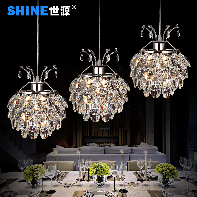 World source led three meal restaurant lights crystal chandelier lamp modern minimalist restaurant lighting lamps creative office 7281