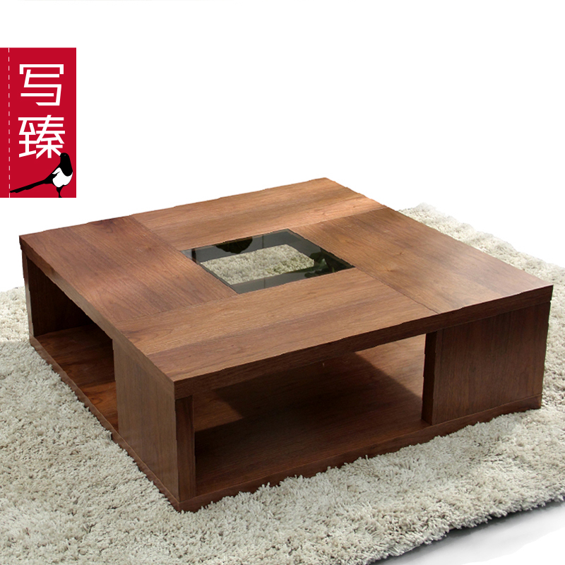 Write zhen beijing modern minimalist fashion creative coffee table square coffee table glass coffee table wood veneer coffee table