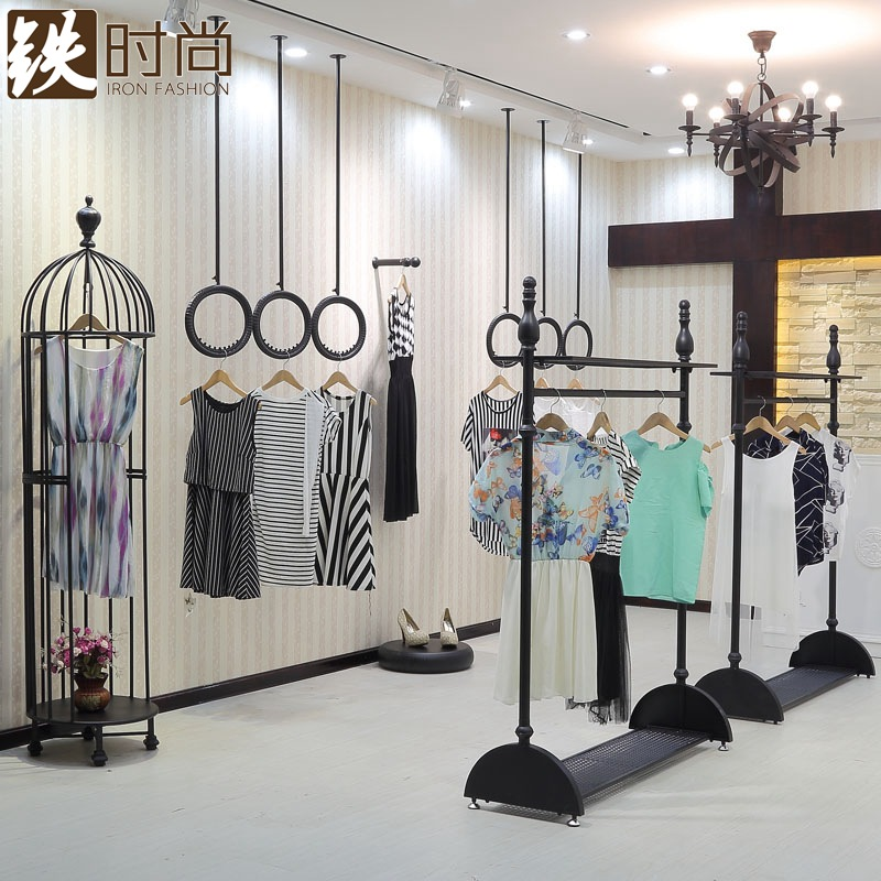 Wrought iron fashion clothing rack hanger floor display rack clothing clothing store display shelves on the wall bracket ceiling