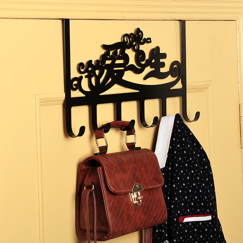 Wrought iron gate trace hook after hook strong adhesive hook coat hanger clothes hanging clothes hook plus thick thick clothes hanging free nail