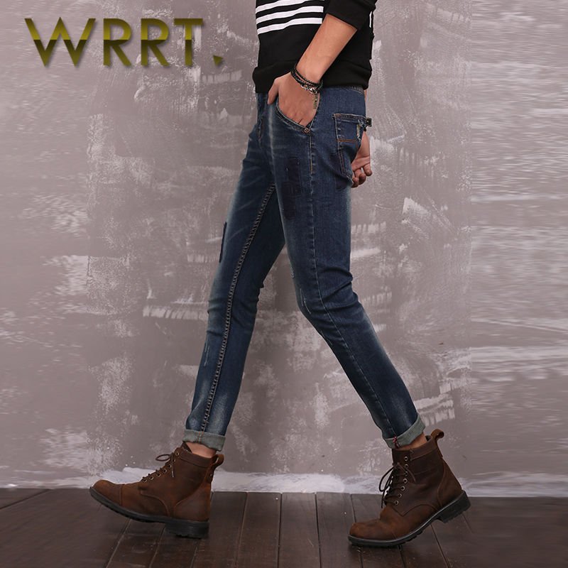 Wrrt 2016 spring new korean fashion hole jeans men straight leg washed trousers feet 0680