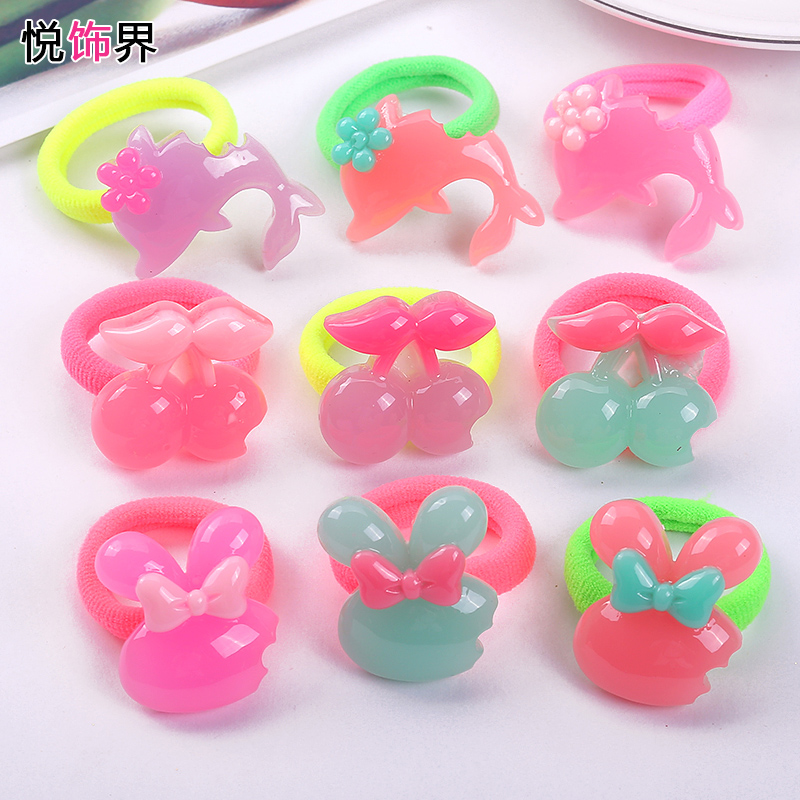 Wyatt decoration sector korea cute bunny candy colored hair rope remodulade po po small girl hair ring hair rubber band hair ornaments head ornaments