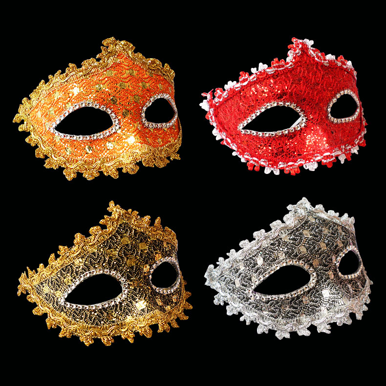 Xi bao halloween new exquisite venetian lace rhinestone leather mask masquerade mask princess