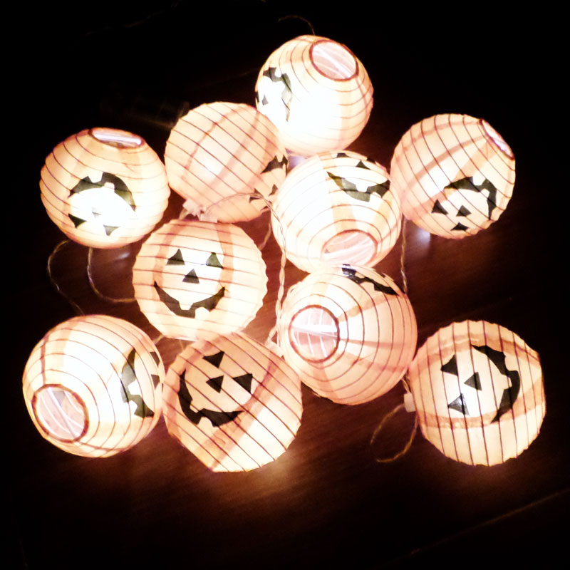Xi bao halloween props luminous fabric pumpkin spider pumpkin string lights led lantern string lights no need to plug free shipping