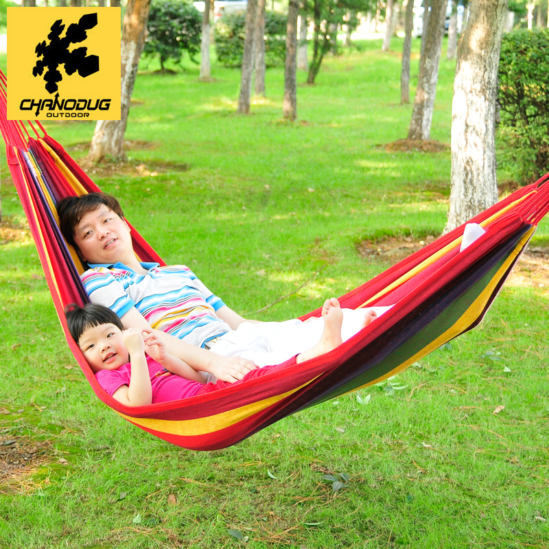 Xianuoduoji spring and summer outing camping hammock swing hammock outdoor canvas hammock widened single high tree bed