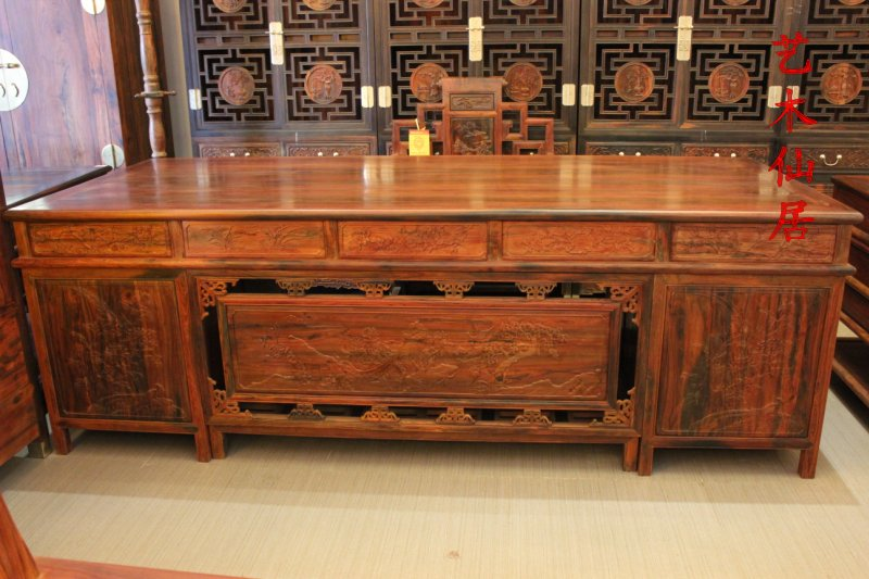 Xianyou laos red rosewood mahogany antique furniture desk with book throne boss desk desk desk