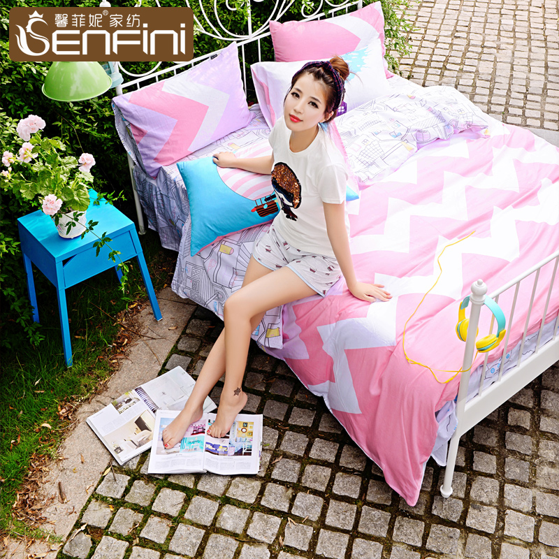 Xin fei ni new korean version of the pastoral fashion simple cotton denim cotton textile bedding 1.51.8m