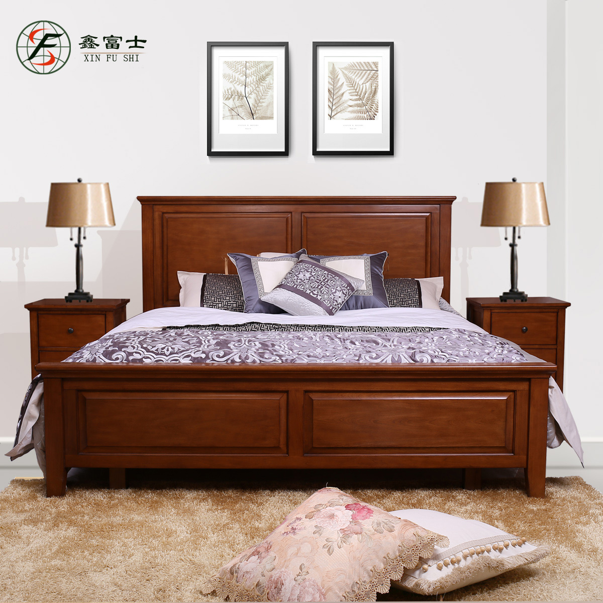 Xin fuji 1.5 m single 1.8 m double bed wood bed minimalist marriage bed bed bed korean