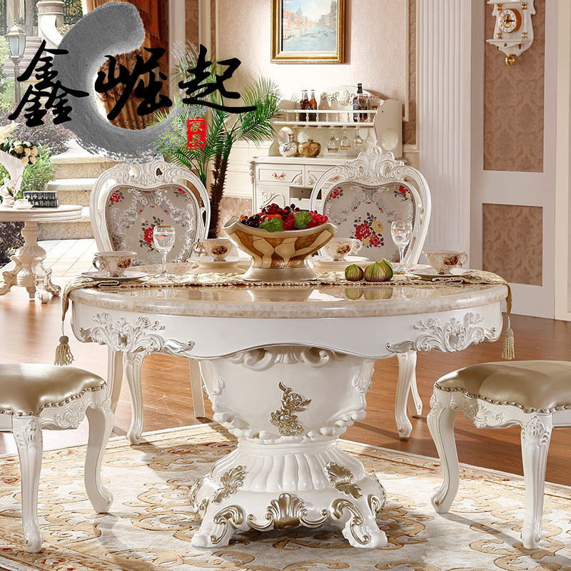 Xin rise of european round table dinette combination of french marble dining table 6 people carved upscale garden table