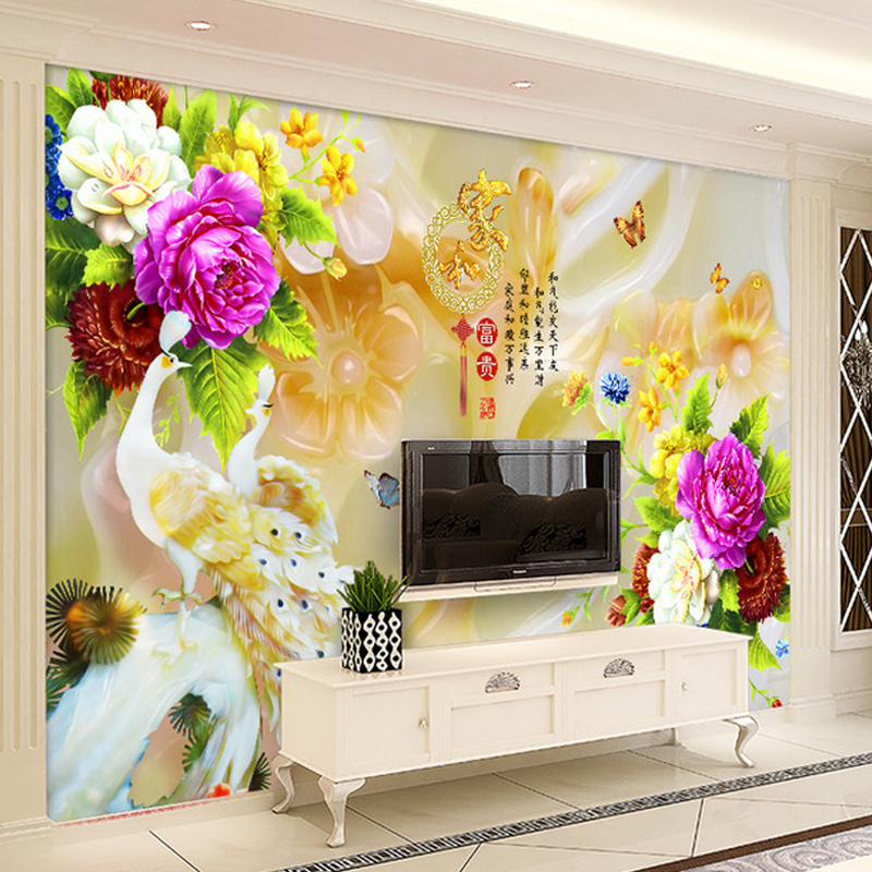 Xin ya chinese peacock 3d jade roses living room sofa tv backdrop wallpaper mural custom wallpaper wall covering