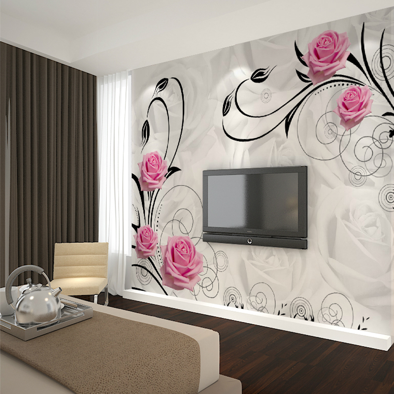 Xin ya home beautiful pink roses seamless large mural custom wallpaper background wallpaper the living room tv