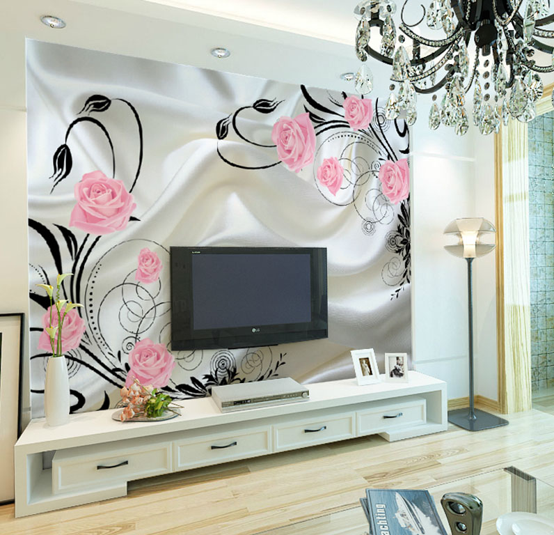 Xin ya pink roses stereoscopic 3d wallpaper murals wallpaper the living room sofa bedroom bedside tv backdrop painting wallpaper