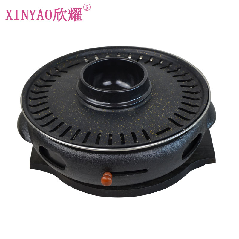 Xin yao korean commercial ovens korean barbecue shop dedicated black color large cast iron pot roast barbecue grill charcoal