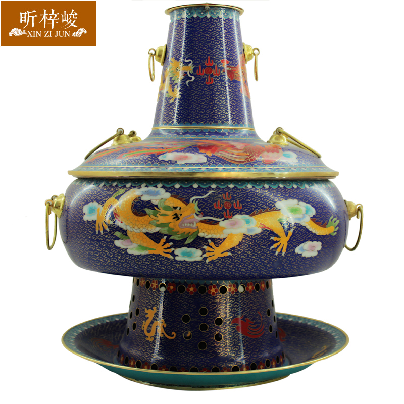 Xin zi finishing cloisonn pure copper copper pot thick charcoal traditional copper pot of old beijing hot pot cookware