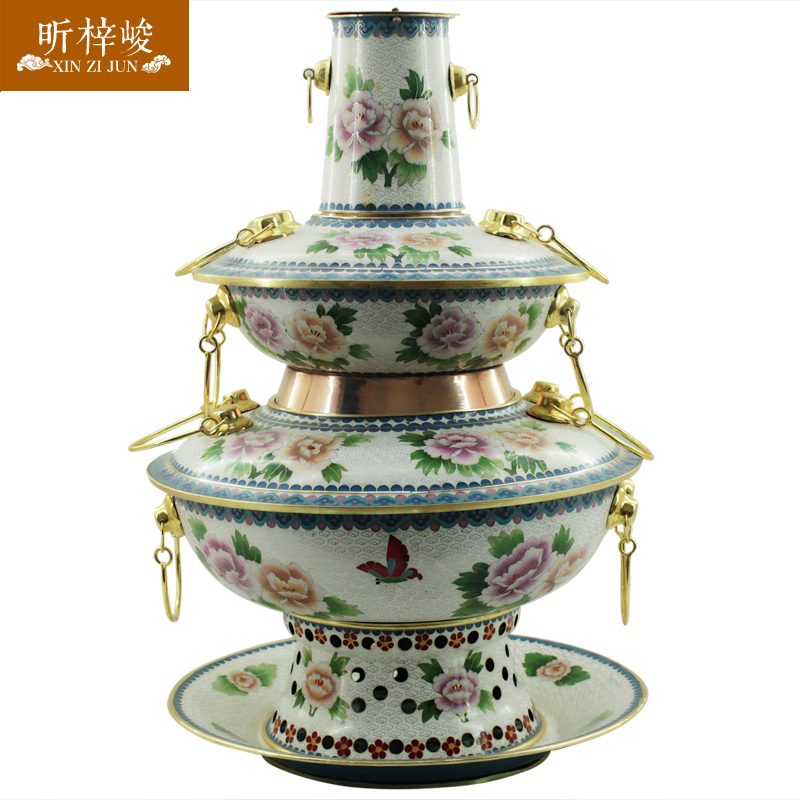 Xin zi finishing cloisonn white peony double charcoal pure copper copper pot fondue pot copper pot hot pot cooker pot dedicated
