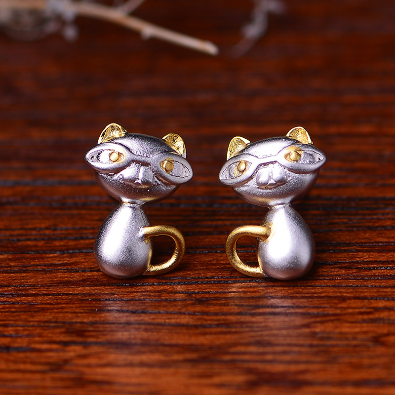 Xinbai hang s925 silver gold sandblasting naughty cat silver stud earrings earrings jewelry accessories fashion jewelry gift