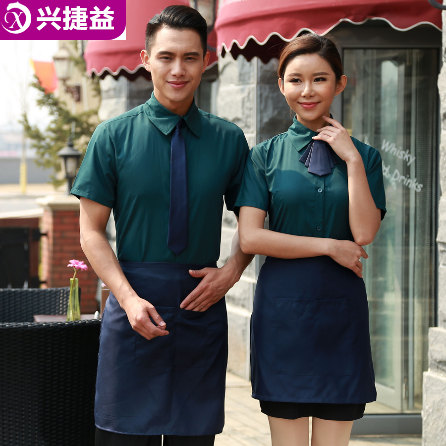 Xing jie yi hotel sleeved overalls fast food restaurant waiter overalls summer clothes for men and women clothes shop