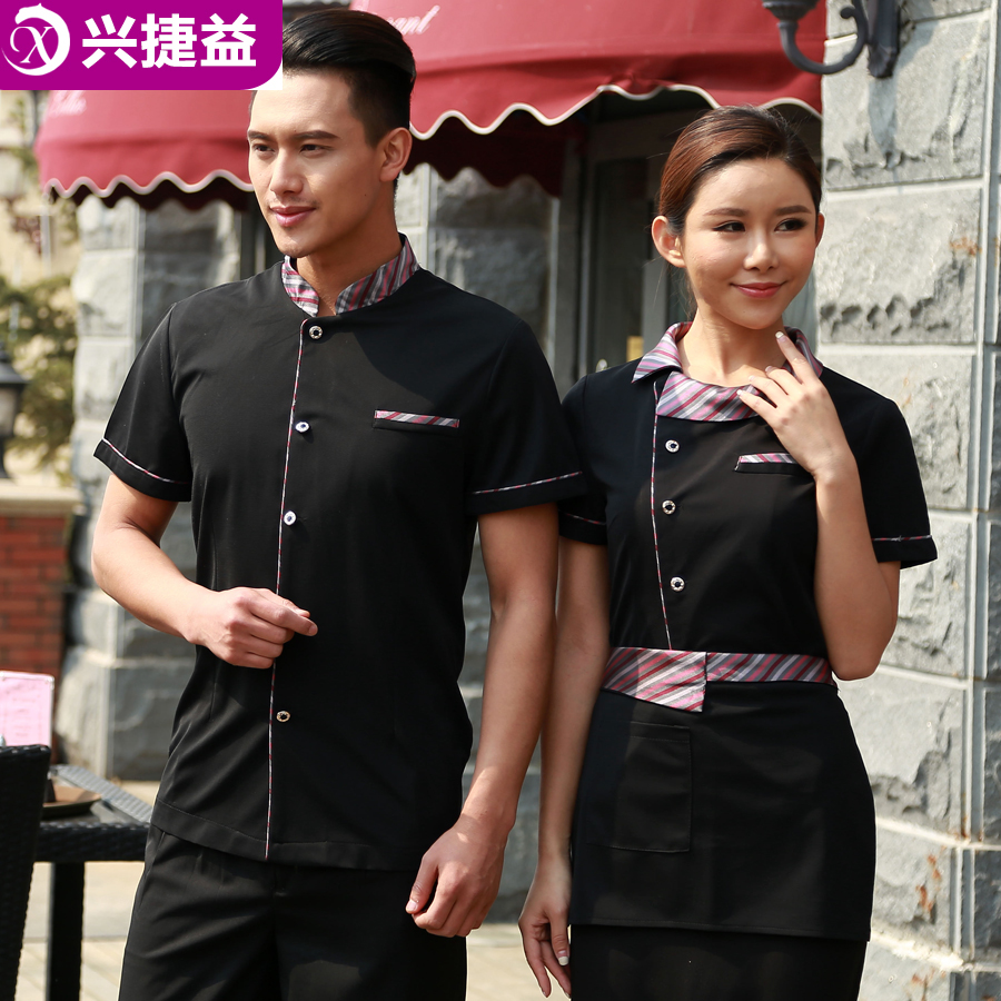 Xing jie yi hotel uniforms summer female restaurant barbecue restaurant waiter overalls sleeved work clothes
