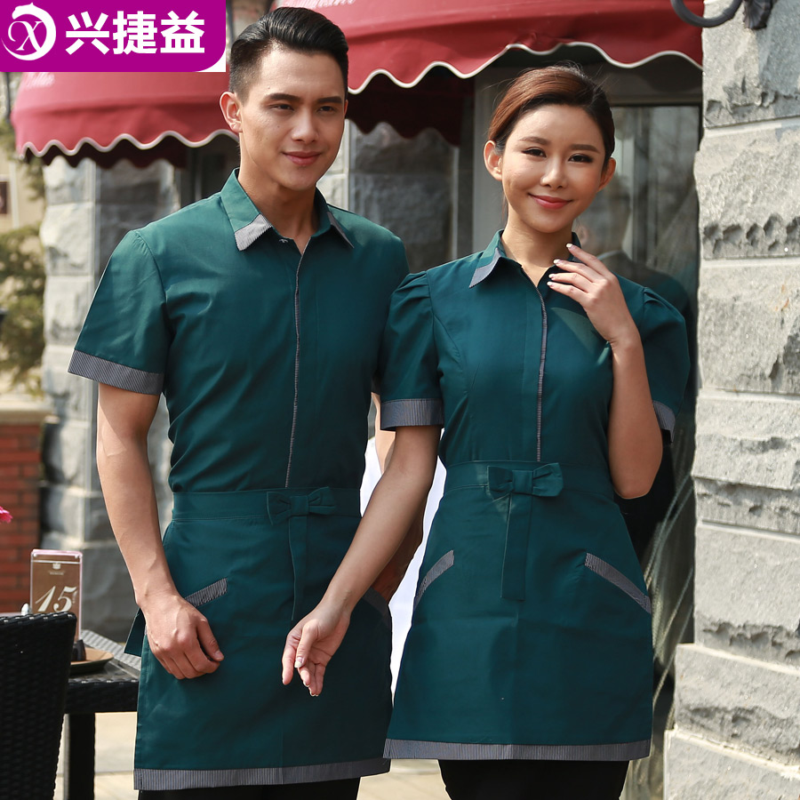 Xing jie yi sleeved overalls summer hotel restaurant waiter overalls overalls pot shop cafe