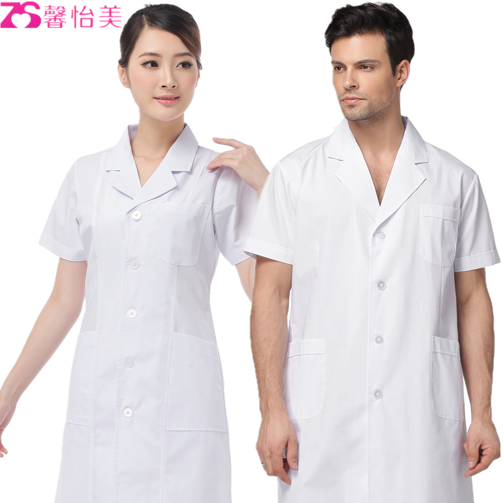 Xinyi us doctors lab coat white coat white short sleeve summer clothes for men and women short paragraph xiaogua nurse pharmacy overalls
