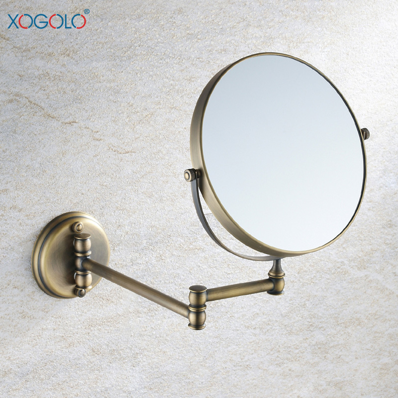 Xogolo all copper antique european sided bathroom mirror cosmetic mirror telescopic mirror all copper 1806