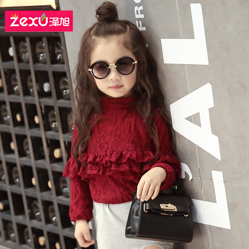 Xu ze girls personalized t-shirt 2016 spring new children's clothing korean children lace sleeve girls